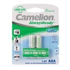 Аккумулятор Camelion Always Ready, AAA, Ni-Mh, HR03-2BL, 1.2В, 600mAh, блистер, 2 шт.