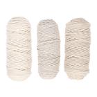 Шнур для вязания 3мм 100% хлопок, 50м/85гр, набор 3шт (Комплект 13)