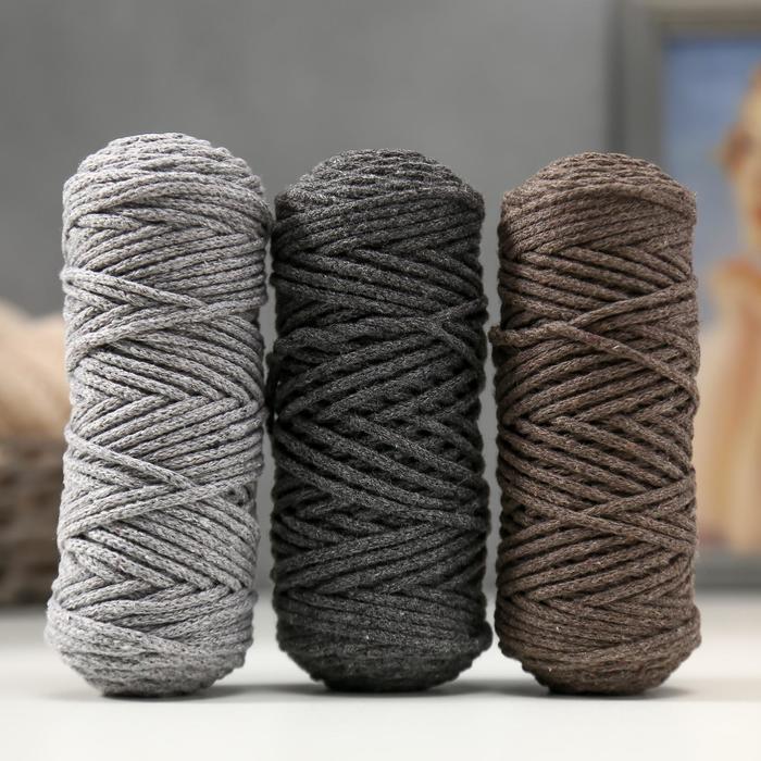 Шнур для вязания 3мм 100% хлопок, 50м/85гр, набор 3шт (Комплект 14)  МИКС