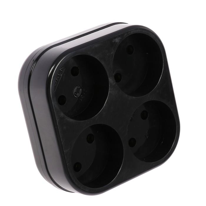 Разветвитель Toker 4Т, 6 А, четырехместный, без з/к, черный
