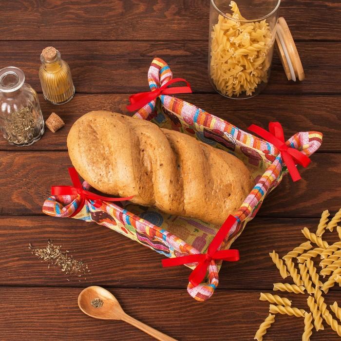 """Хлебница """"Доляна"""" Сладости 30*30 см, 100% хлопок, рогожка 162 г/м2"""