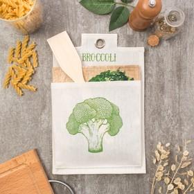 "Набор кухонный ""Broccoli"" полотенце 40х73 см, кармашек 29х19 см, ложка 24х5 см"