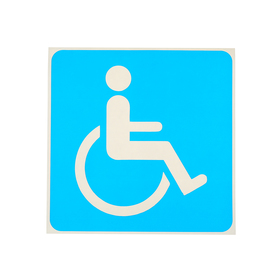 "Sticker sign ""Disabled person"" 18*18 cm color: blue"