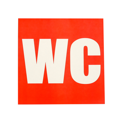 "Decal sign ""toilet WC"" 18*18 cm color: red"