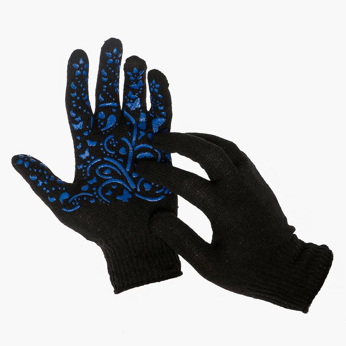 Перчатки, х/б, вязка 10 класс, 5 нитей, размер 9, с ПВХ рисунком, чёрные