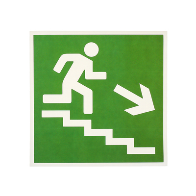 "Label ""Direction to emergency exit stairs down"" 18*18 cm color: green"
