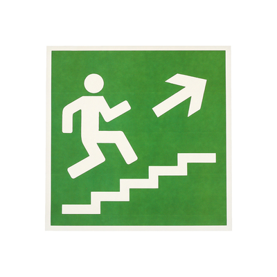 "Label ""Direction to emergency exit stairs up"" 18*18 cm color: green"