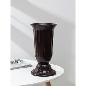 Вазон с подставкой «Флора», 2 л, h=29 см, цвет коричневый