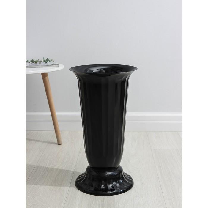 """Вазон с подставкой 12 л """"Флора"""", h=51 см, цвет чёрный"""