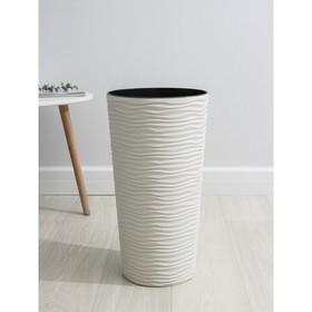Кашпо со вставкой «Фьюжн», 21 л (10 л), цвет белая роза