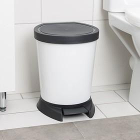 Ведро для мусора с педалью 10 л, цвет белый