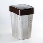"Ведро для мусора с декором ""Евро.Тёмное дерево"", цвет коричневый"