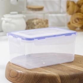 Контейнер для пищевых продуктов с зажимом прямоугольный, 1,5 л, цвет прозрачный