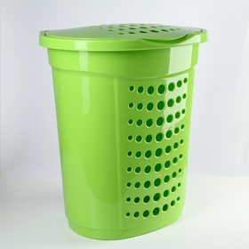 Корзина для белья с крышкой 60 л, 50×37×57 см, цвет оливковый