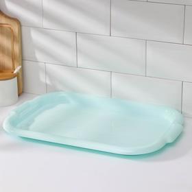 Поднос прямоугольный, 45×30×3 см, цвет голубой