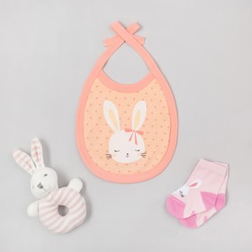 """Набор Крошка Я """"Маленькая Зайка"""": слюнявчик, носки, игрушка, 6-8 см"""