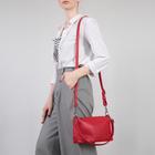 Сумка женская, 2 отдела на молниях, наружный карман, цвет красный