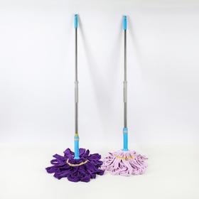 Швабра с отжимом Доляна, телескопическая стальная ручка 80-124 см, насадка из микрофибры, цвет МИКС - фото 4646960