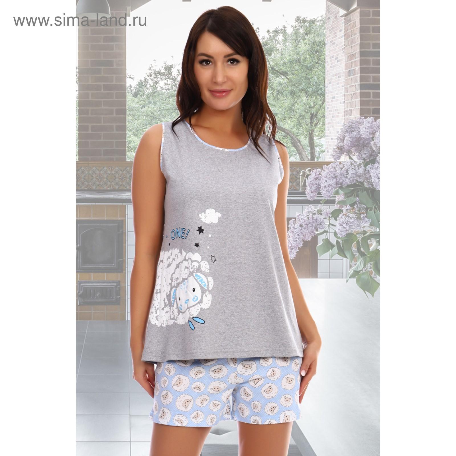 a8e4c9e05b416 Комплект женский (майка, шорты) «Кудряшки», цвет серый, размер 50 ...