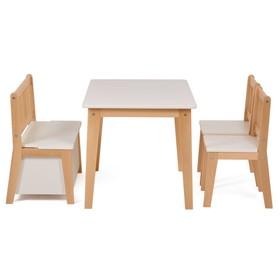 Набор детской мебели Polini kids Dream со скамьёй и стульями, цвет белый натуральный