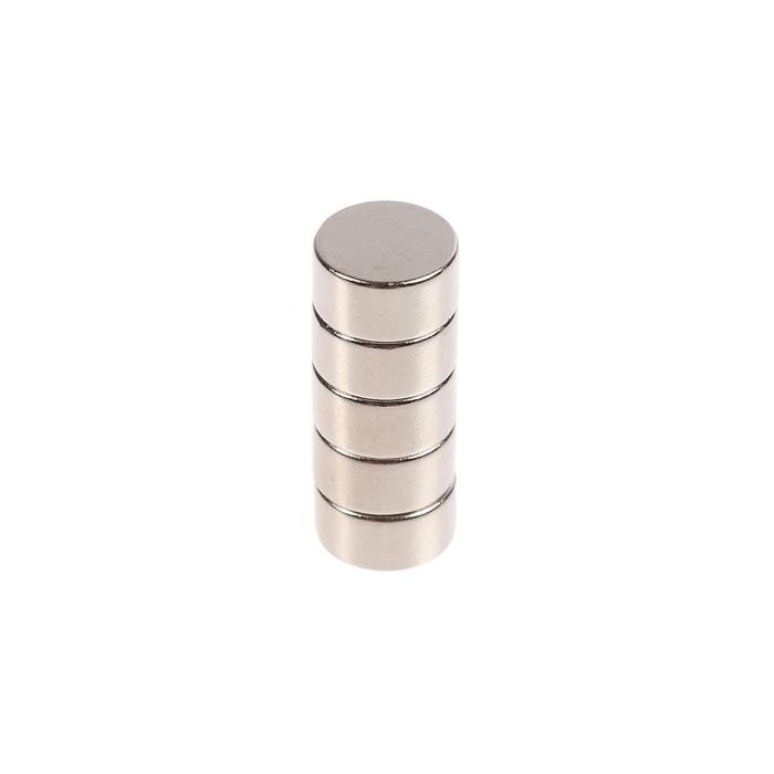 Неодимовый магнит REXANT, диск 10х5 мм, сцепление 2.5 кг, 5 шт.