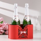"""Basket champagne """"Fishnet"""", white-red, 22,5х11х13 cm"""