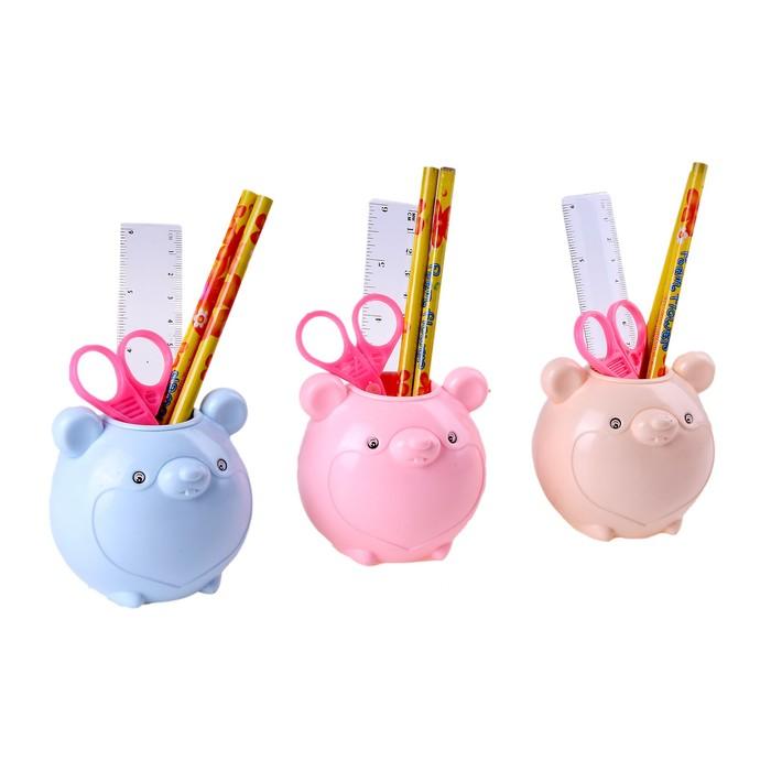 """Настольный набор детский """"Мышка"""" из 5 предметов: подставка, ножницы, линейка, 2 карандаша, МИКС"""