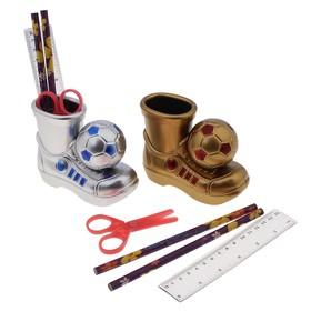 Настольный набор детский, «Ботинок с мячом» из 5 предметов: подставка, ножницы, линейка, 2 карандаша, МИКС