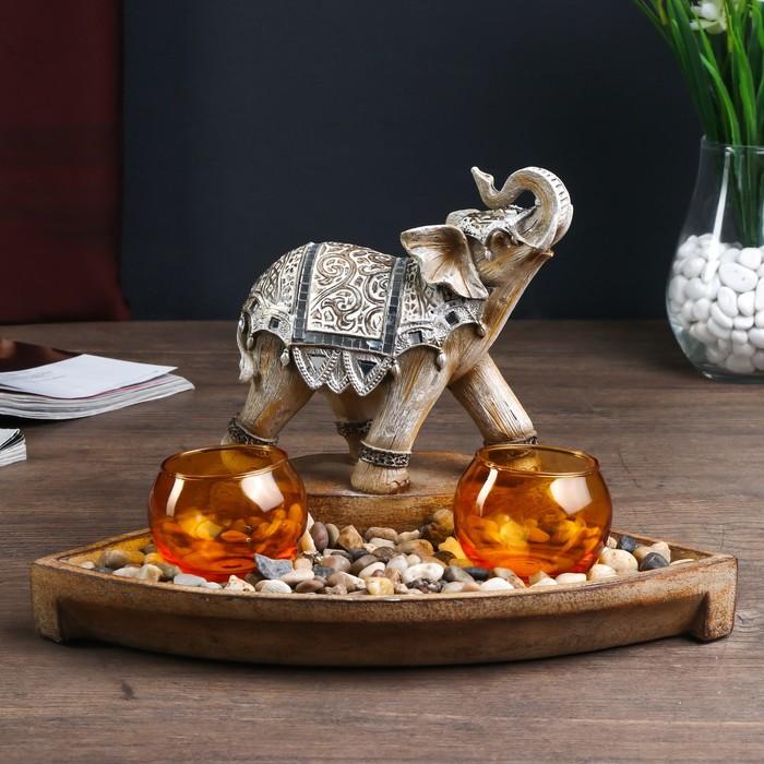 """Подсвечник на две свечи """"Слон в доспехах"""""""