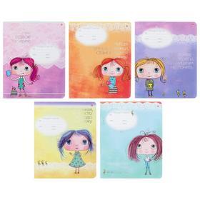 Тетрадь 12 листов в клетку «Девочка Юна», обложка мелованный картон, фольга, выборочный лак, МИКС