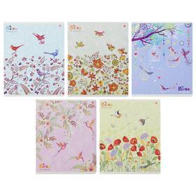 Тетрадь 48 листов клетка «Праздник. Птички», обложка мелованный картон, УФ-лак, фольгирование, конгрев, МИКС