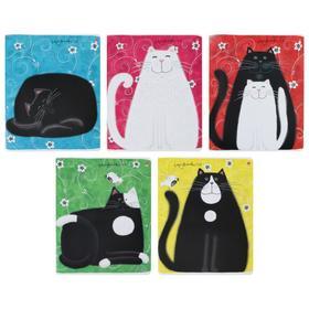 Тетрадь 48 листов клетка «Кошки-матрешки», обложка мелованный картон, УФ-лак, фольгирование, МИКС