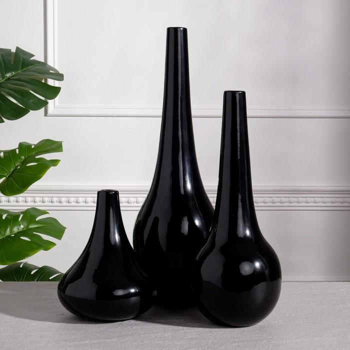 """Набор ваз """"Мирта"""", цвет черный, 48.5/38.5/ 21.5 см , керамика - фото 827463"""