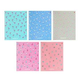 Тетрадь 48 листов в клетку на гребне «Ламы», обложка мелованный картон, глянцевая ламинация, МИКС