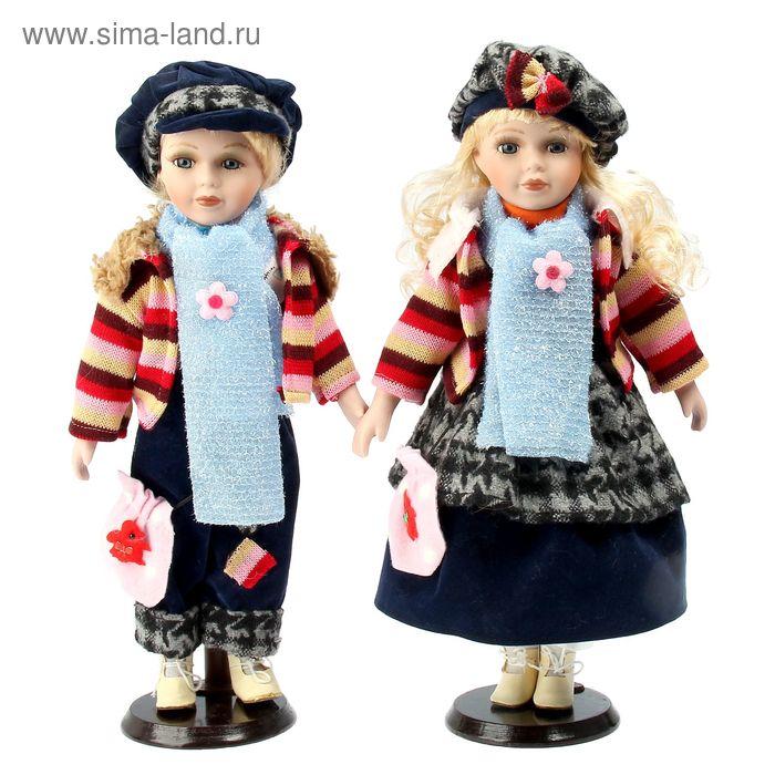 """Кукла коллекционная """"Парочка в драповых костюмах"""" в наборе 2 шт"""