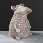 """Копилка """"Мышка Доцент"""" под камень, серый"""