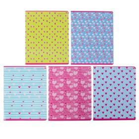 Тетрадь 48 листов в клетку «FRESH. Сердечки», обложка мелованный картон, УФ-лак, МИКС