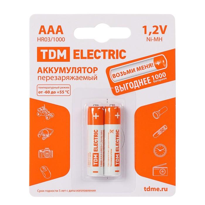 Аккумулятор TDM, Ni-Mh, AAA, HR03-2BL, 1.2В, 1000 мАч, блистер, 2 шт.