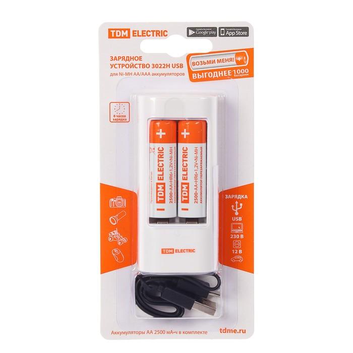Зарядное устройство TDM 3022Н + 2 аккумулятора AA 2500 мАч, ток: 300 мA, USB