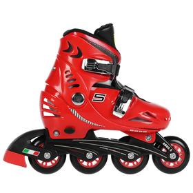 Роликовые коньки FERRARI р. 33-36, колеса PU, ABEC 5, цвет красный