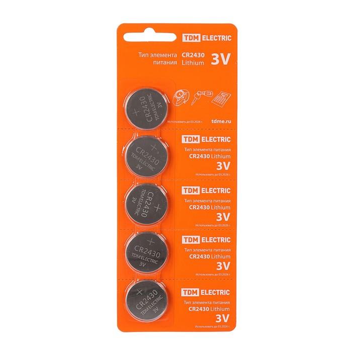 Батарейка литиевая TDM, CR2430-5BL, 3В, блистер, 5 шт.