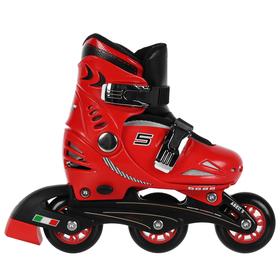 Роликовые коньки FERRARI р. 29-32, колеса PU, ABEC 5, цвет красный
