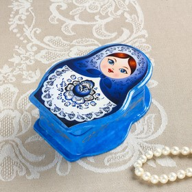 Шкатулка «Матрёшка», гжель, синяя, 11×8 см, лаковая миниатюра