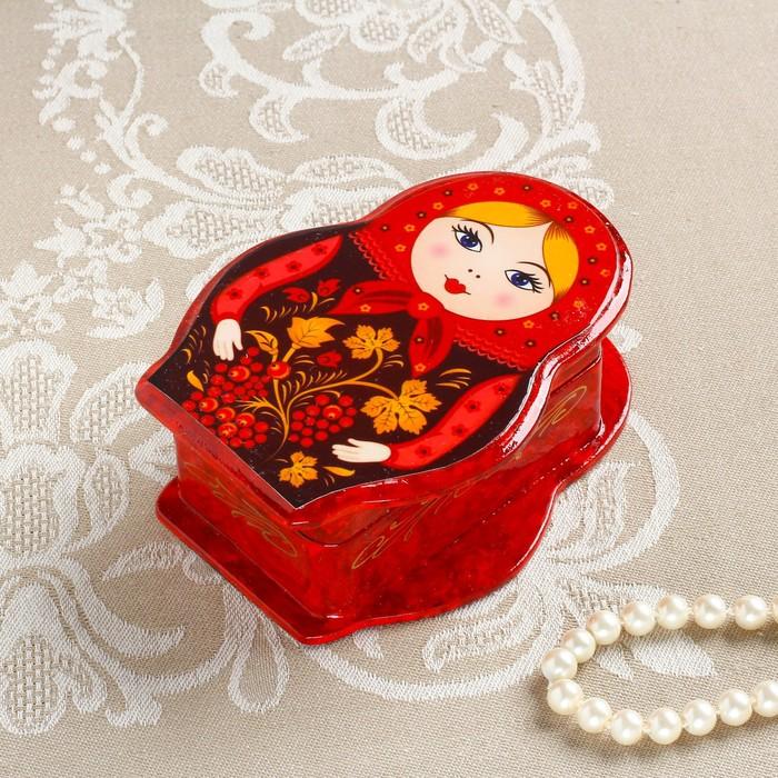 Шкатулка «Матрёшка с рябинкой», красная, 11×8 см, лаковая миниатюра - фото 728116058