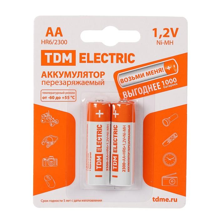 Аккумулятор TDM, Ni-Mh, AA, HR6-2BL, 1.2В, 2300 мАч, блистер, 2 шт.