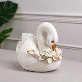 """Копилка """"Лебедь"""", белая, золотистая роспись, 19 см, микс"""
