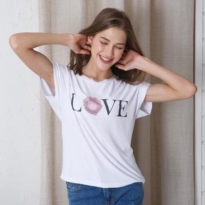 "T-shirt MINAKU ""Love"", size 42-44, white"