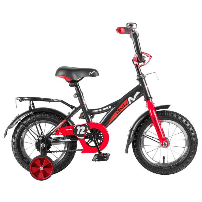 """Велосипед 12"""" Novatrack Strike, цвет черный/красный"""