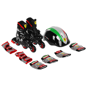 Набор роликовые коньки + защита FERRARI р 29-32, колеса PU, ABEC 5, цвет черный