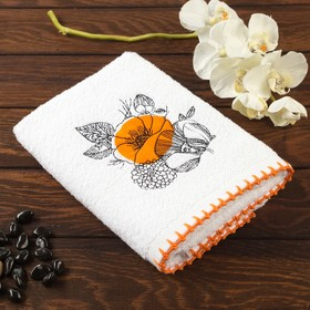 """Полотенце махровое """"Мальва"""" с вышивкой 50х70, оранжевый, 450 гр/м2, 100% хлопок"""